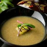 旬の野菜を和風スープ仕立てに