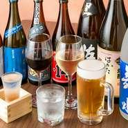 日本酒、焼酎は九州のものをメインに、幅広くそろえています。焼酎は芋、麦、米はもちろん、銘柄もメジャーな『黒霧島』、『赤霧島』から、珍しいものまで約10種類ぐらい、常にお店に並んでいます。