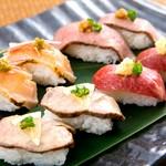 新鮮で上質な桜肉、鶏肉、牛肉を、素材の味そのままお楽しみいただきたく、お寿司としてお出しいたします。