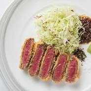 柔らかい牛フィレ肉をサクサク衣で揚げた一品。 凝縮された牛肉本来の味を堪能頂けます。