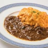 コクのある大分県産、龍のたまごのオムライスです。 味わいのある特製ハヤシソースとご一緒にお召し上がりください。