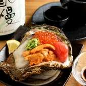 口の中で弾けてとろける魅惑のおいしさが独り占めできる『牡蠣の通風3点盛り』