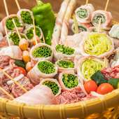 焼鳥とともに注文したい、人気の【一力】名物『野菜巻串』