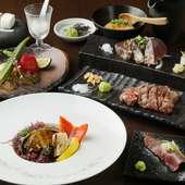 黒毛和牛のステーキと鮑の鉄板焼きが楽しめる贅沢な『鮑コース』