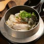 テーブルで炊き上げる『天然真鯛の釜めし』