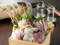 旬の魚介を贅沢に満喫。日ごとに変わる鮮魚に舌鼓『小田原地魚使用 升盛り合わせ』