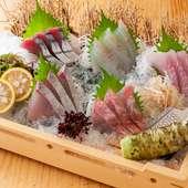鮮魚が並べられた贅沢な『刺身5種盛り』
