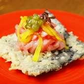 お寿司の人気ネタが天ぷらになって登場!コリコリ食感も楽しい『トロたく天ぷら』