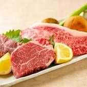 目の前の鉄板で焼く臨場感も満喫『熊本県産味彩牛』