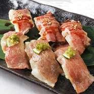広島名物、牛のコウネをお寿司にしました。 リピート率のとても高い逸品です。