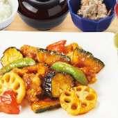 鶏と野菜の黒酢炒め御膳