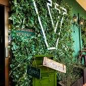 看板を覆い隠すように生い茂る葉・葉・葉