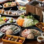 恵那どりをメインとし、奥三河どりと食べ比べも楽しめるコースです。