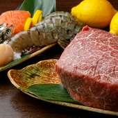 新鮮な魚介と肉