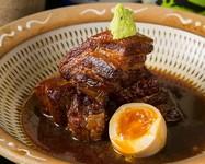 糸島産豚の角煮 半熟玉子添え