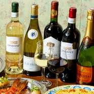 20種を超える世界各地のワインを揃えており、グラスワインは480円~、フルボトルは2500円~とリーズナブルに楽しめます。