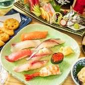 市場直送!鮮度抜群の旬素材を使った寿司や刺身が味わえる