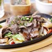 神戸牛カルビの 鉄板スタミナ炒め