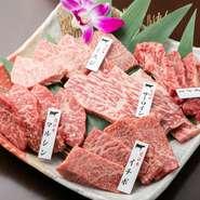 近江牛の希少部位を2カットずつ食べ比べができます。初体験の部位でも味見程度でオーダーできますので、初心者でも気軽に近江牛が楽しめます。