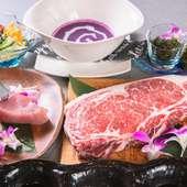 メインは、サシが適度に入ったサーロインを絶妙な焼き加減で仕上げる『鉄板焼き 国産牛サーロインコース』