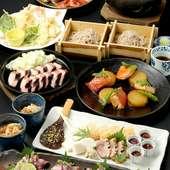 季節のお刺身、お魚の七輪炙り、おばんざいや揚げ物といった猪口猪口のいいとこどりを味わえるコース