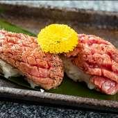 お肉を焼いている間はこちら。程よい食感で食が進む『絶品!肉寿司』