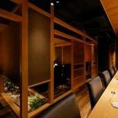 接待などの会食にふさわしい、洗練された和モダン空間
