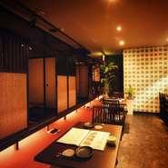 2名様から使用できる個室は全て掘りごたつ席とゆっくりくつろげるスペースとなっております。  2~4名席×5  4~6名席×3 6~10名席×2