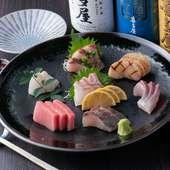 自慢の日本酒と一緒にどうぞ! 『お刺身盛り合わせ』