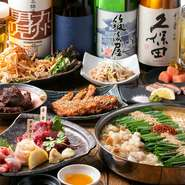 ビールやサワー類に加えて、日本酒や焼酎の多彩なラインナップもこの店の魅力。コース料理に飲み放題をプラスできるのはもちろん、単品でオーダーできるシステムも人気を集めています。