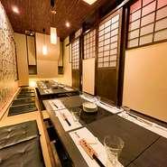 大小様々な個室完備しておりますので、安心してお食事をお楽しみください。