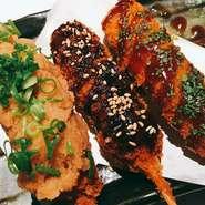 お味は、ソース・味噌・おろしポン酢の3種類の中からお選び下さい。