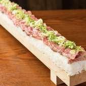 ネギ塩タンの炙り肉寿司