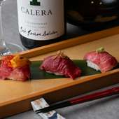 肉寿司三貫盛り