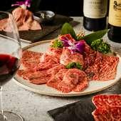 美味しい焼肉に合うワインを選りすぐり、シャンパーニュも充実