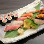 旬の魚介を味わうひとときは、まさに贅沢の極み。握り寿司『極』