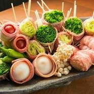 鹿児島県産の地鶏を使用した、焼き鳥・野菜巻き食べ放題のお得な宴会コース ※詳細はプランメニューへ
