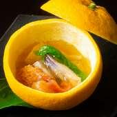 柑橘の爽やかな香りと貝の食感が春の味『夏みかんの貝寄せ』