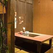 完全個室は、足元ゆったりの堀ごたつ式です 半個室もございます