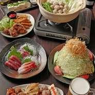 歓送迎会、忘年会、新年会、飲み会などにご利用ください!! 写真は4500円コースです。