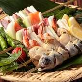 素材のおいしさを楽しめる大串焼。お好みの串をどうぞ。