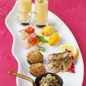 旬の食材を楽しむ、前菜6種盛り合せ。(2名様~)