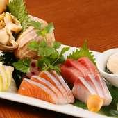 産直&市場で買い付ける海の幸が目白押し『本日の新鮮お刺身おまかせ5種盛り』