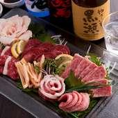 熊本といえば馬刺し! 新鮮ならではの美味しさが堪能できる『馬刺盛り合わせ(写真はイメージ)』