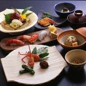 お刺身・お寿司が付いた御膳です。 会食や気軽なご宴会などにお勧めです。