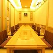 宴会に最適な個室は、お客様の人数に合わせて席数の調整が可能です。
