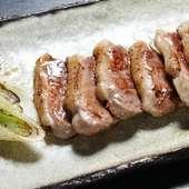 鴨の塩焼き。厚切りの鴨肉をジューシーに焼き上げました。