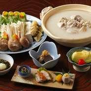 ももの塩焼と季節のお野菜・肝煮・水だき・雑炊・フルーツ
