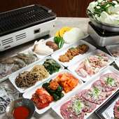 貸切(25名~)「ホルモン+焼肉+鍋」の充実コース(2400円~)