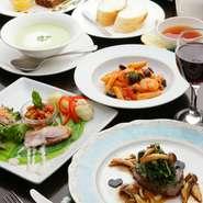 サラダ前菜/本日のスープ/パン//肉料理or魚料理/ドルチェ盛合せ/ソフトドリンク